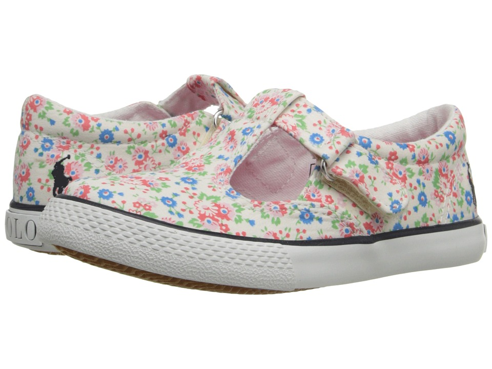 Polo Ralph Lauren Kids - Tabby T-Strap (Toddler) (White Mini Floral Canvas/Navy Pinstripe) Girl's Shoes