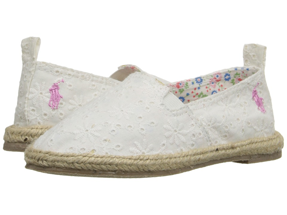 Polo Ralph Lauren Kids - Beakon (Toddler) (White Eyelet) Girls Shoes
