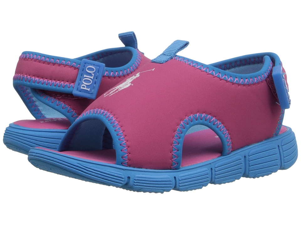 Polo Ralph Lauren Kids - Wavecroft II (Toddler) (Pink Stretch PU/Caribbean Blue) Girls Shoes