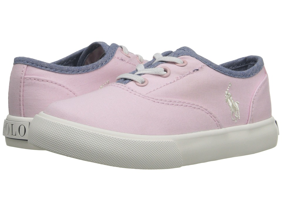 Polo Ralph Lauren Kids - Vali Gore (Toddler) (Pink Chino/Blue Chambray) Girls Shoes