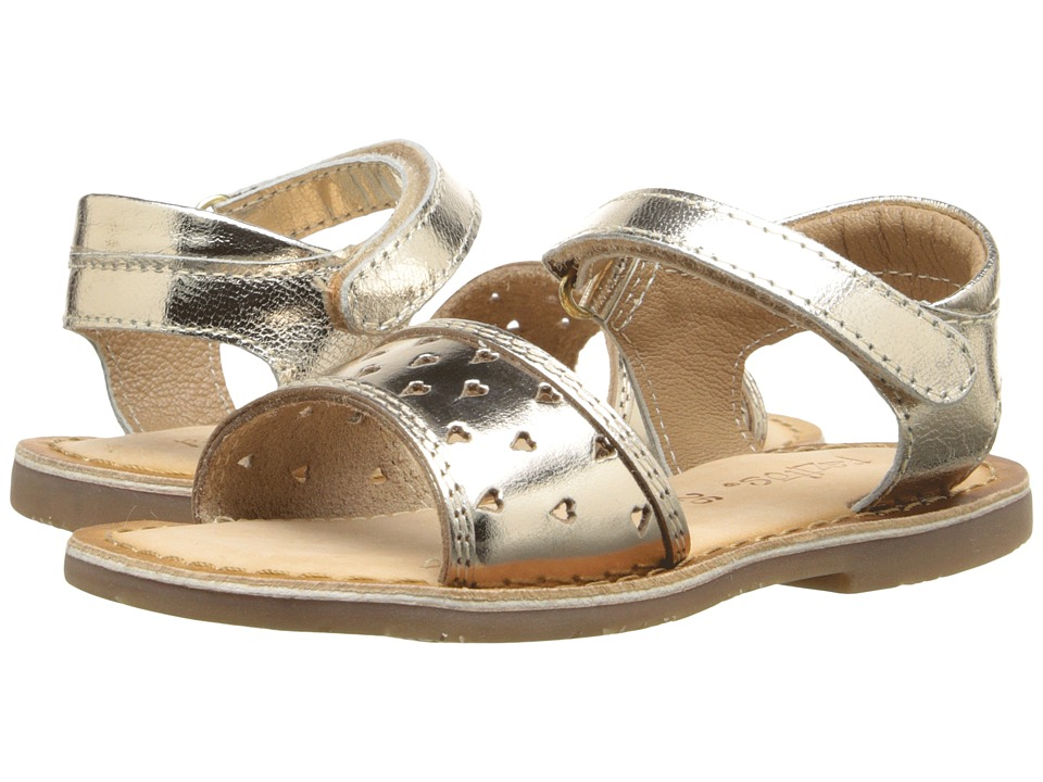Pazitos - Heart-Out Sandal (Toddler) (Gold) Girls Shoes
