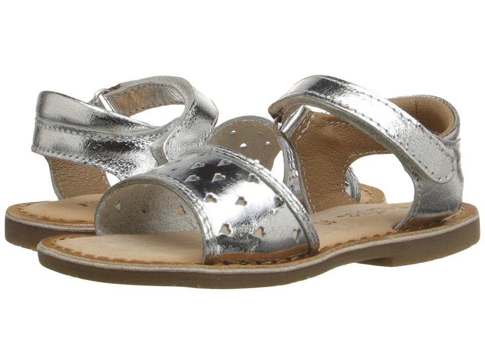 Pazitos - Heart-Out Sandal (Toddler) (Silver) Girls Shoes
