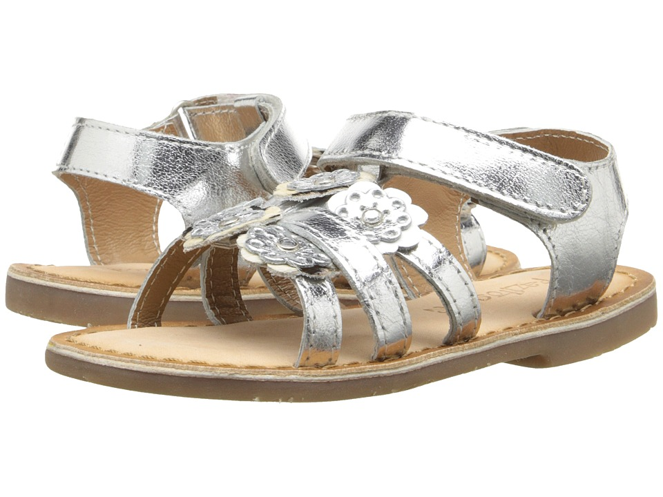 Pazitos - Mini Burst Sandal (Toddler) (Silver) Girls Shoes