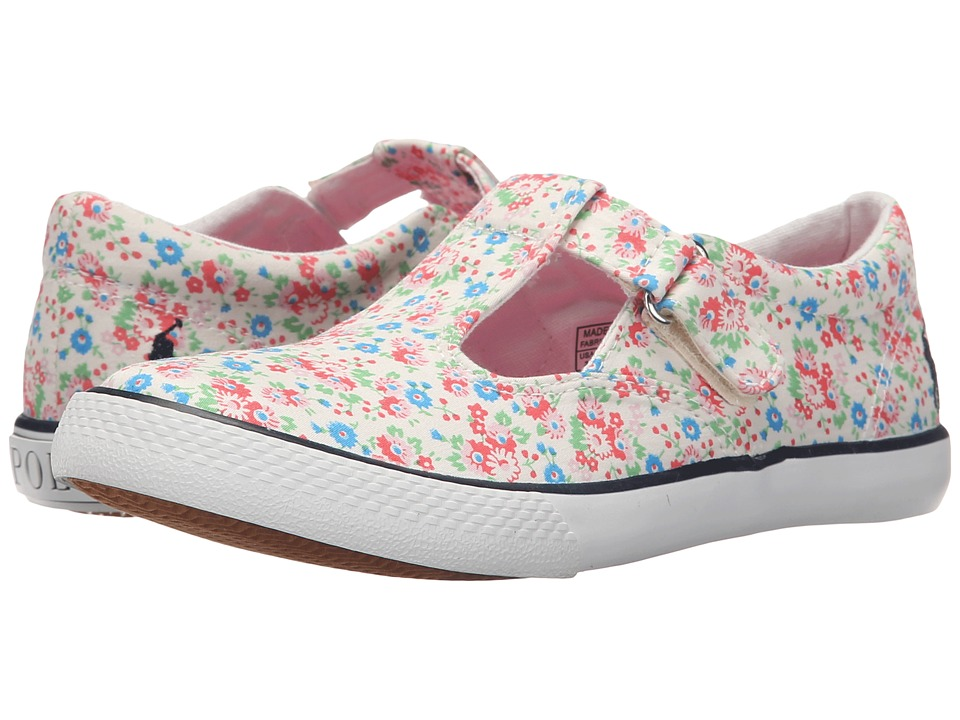 Polo Ralph Lauren Kids - Tabby T-Strap (Little Kid) (White Mini Floral Canvas/Navy Pinstripe) Girls Shoes