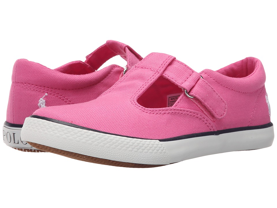 Polo Ralph Lauren Kids - Tabby T-Strap (Little Kid) (Light Pink Canvas/White Pinstripe) Girls Shoes