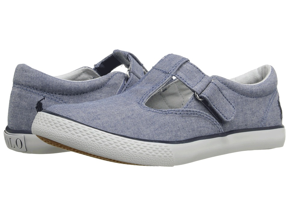 Polo Ralph Lauren Kids - Tabby T-Strap (Little Kid) (Blue Chambray/Navy) Girls Shoes