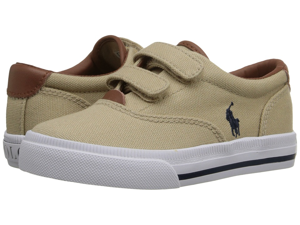Polo Ralph Lauren Kids - Vaughn II EZ (Toddler) (Khaki Canvas/Navy) Boy's Shoes