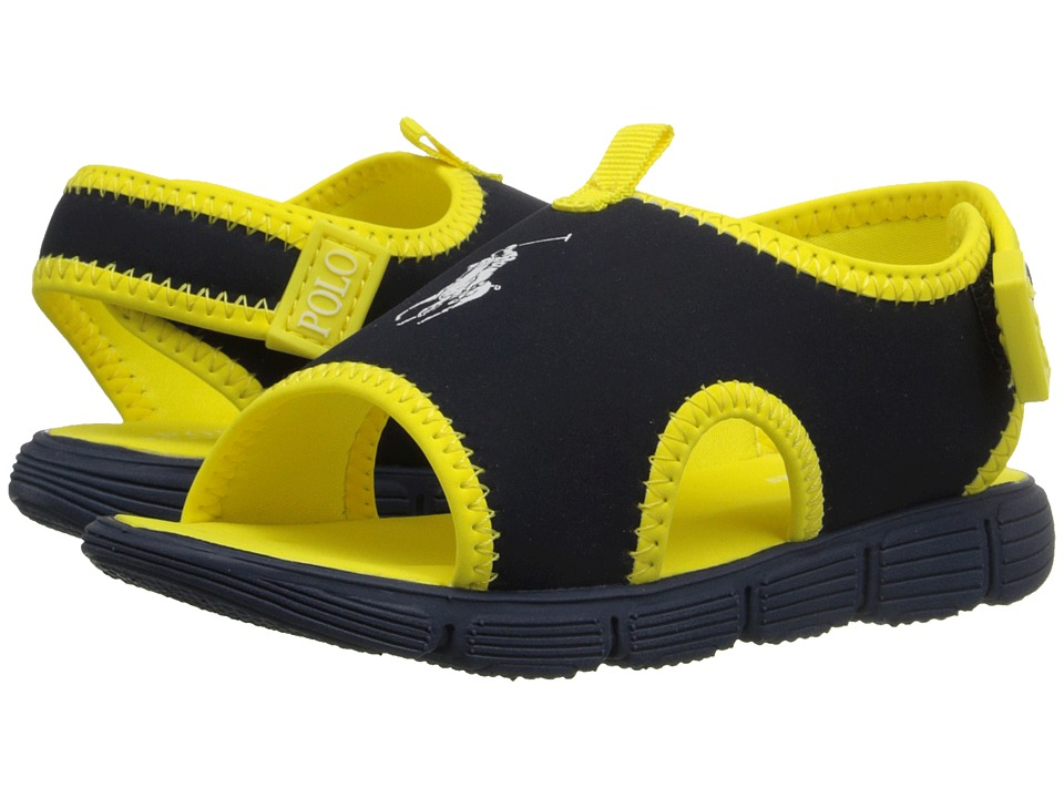 Polo Ralph Lauren Kids - Wavecroft II (Toddler) (Navy Stretch PU/Yellow) Boys Shoes