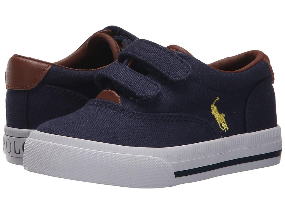 Polo Ralph Lauren Kids - Vaughn II EZ (Toddler) (Navy Canvas/Yellow) Boy's Shoes