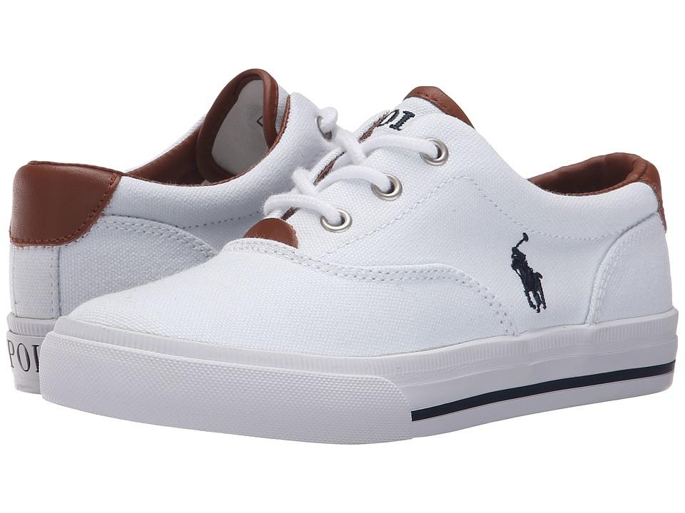 Polo Ralph Lauren Kids - Vaughn II (Little Kid) (White Canvas/Navy) Boy's Shoes