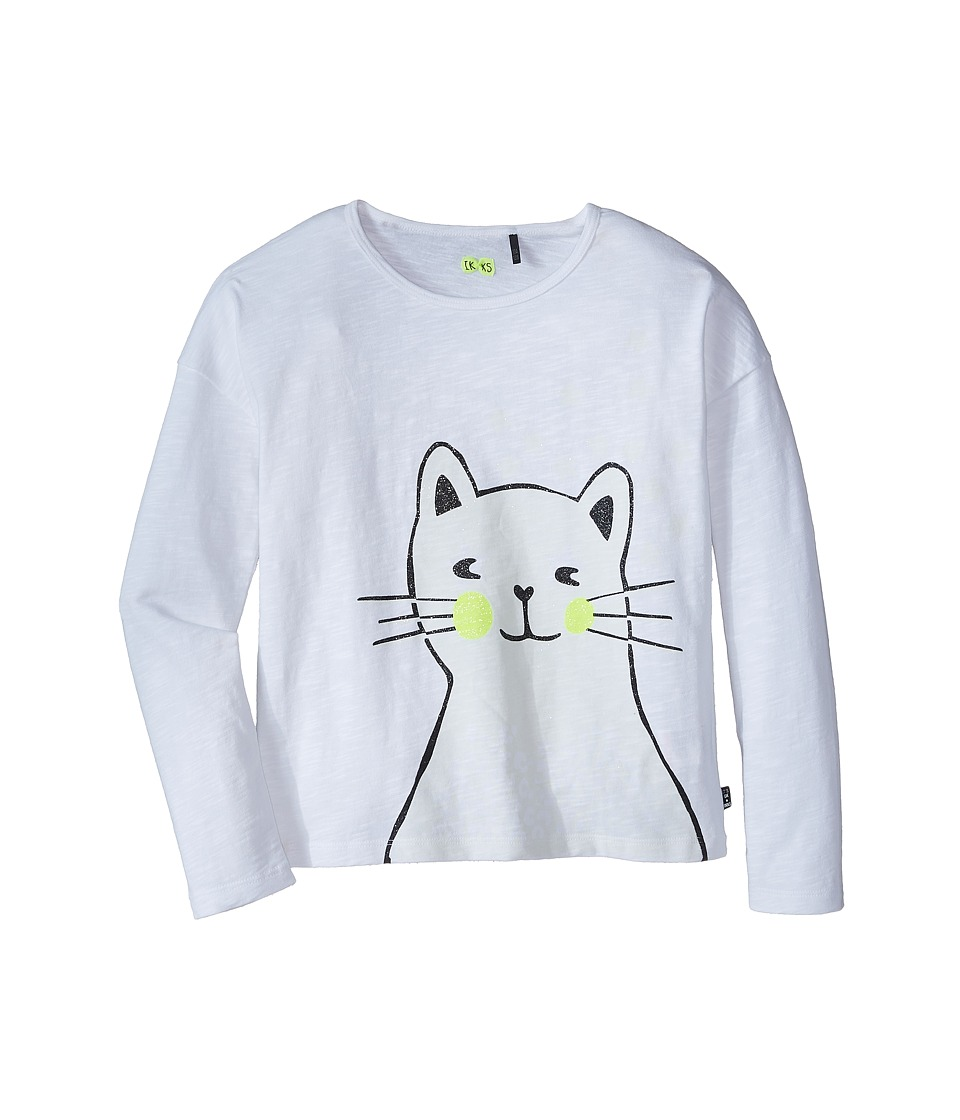 IKKS - Glow-in-the Dark Cat Tee (Little Kids/Big Kids) (Blanc) Girl