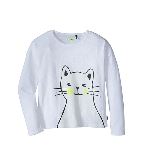 IKKS - Glow-in-the Dark Cat Tee (Little Kids/Big Kids) (Blanc) Girl's T Shirt