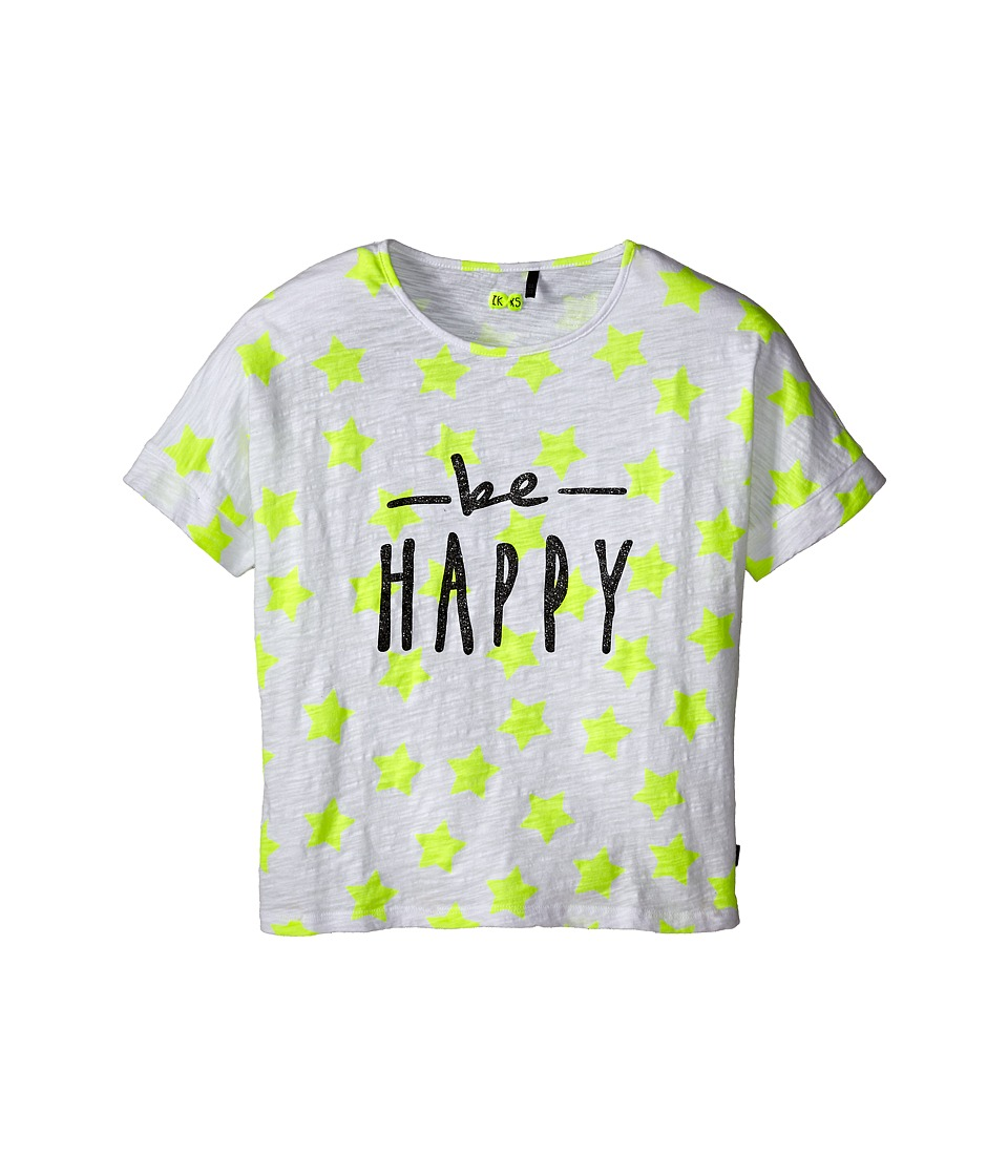 IKKS - Be Happy Star Print Tee (Little Kids/Big Kids) (Jaune Fluo) Girl's T Shirt