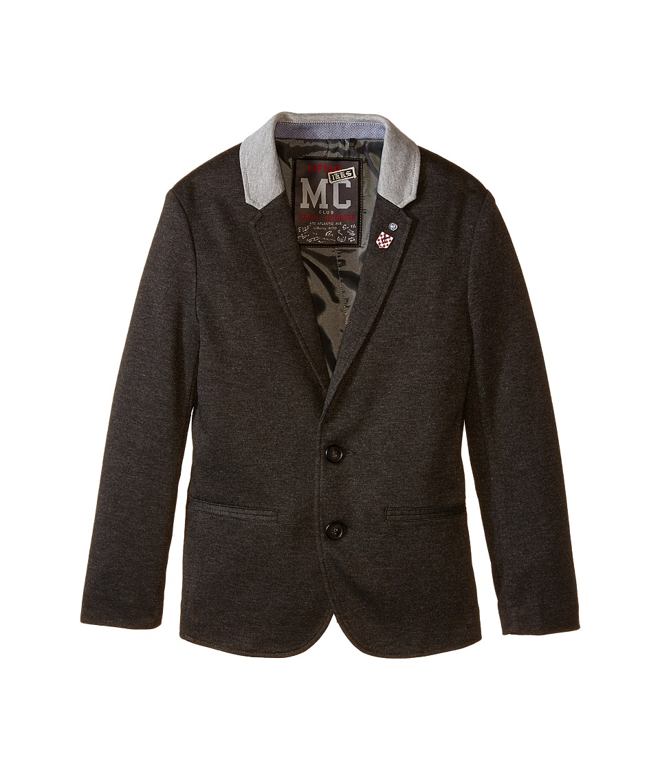 IKKS - Jersey Blazer Jacket with Navy Badges (Little Kids/Big Kids) (Anthracite) Boy