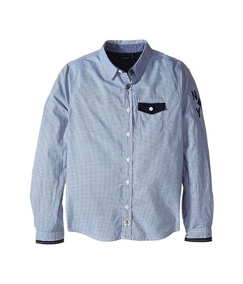 IKKS - Pinstripe Button Up Shirt with Contrast Trim (Little Kids/Big Kids) (Navy Rayures) Boy's Long Sleeve Button Up