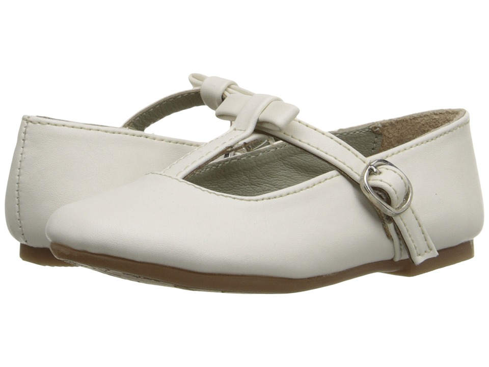 Pazitos - T-Bow MJ PU (Toddler) (Ivory) Girls Shoes