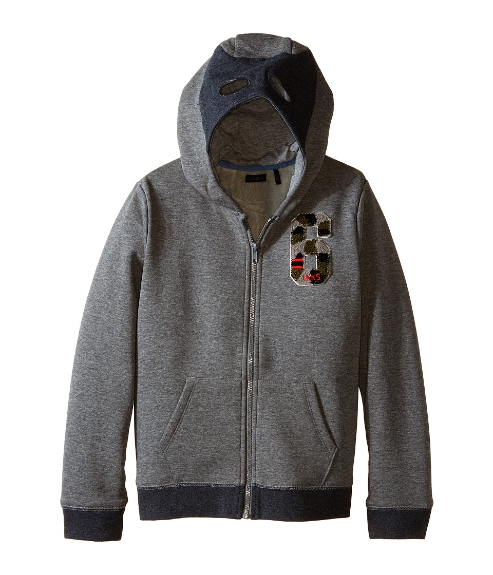 IKKS - Zip-Up Hoodie Sweatshirt with Mask on Hood (Little Kids/Big Kids) (Gris Chine) Boy's Sweatshirt