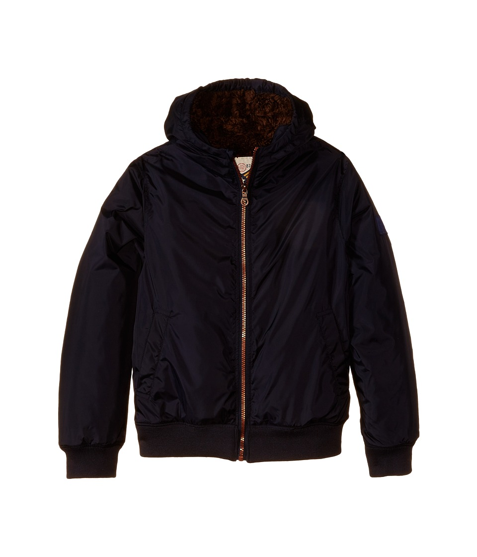 IKKS - Ultra Soft Hooded Jacket with Faux Fur Lining (Little Kids/Big Kids) (Navy) Boy's Coat