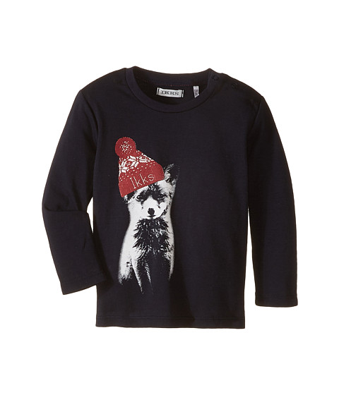 IKKS - Long Sleeve Tee with Fox Wearing Beanie (Infant/Toddler) (Marine Clair) Boy's T Shirt