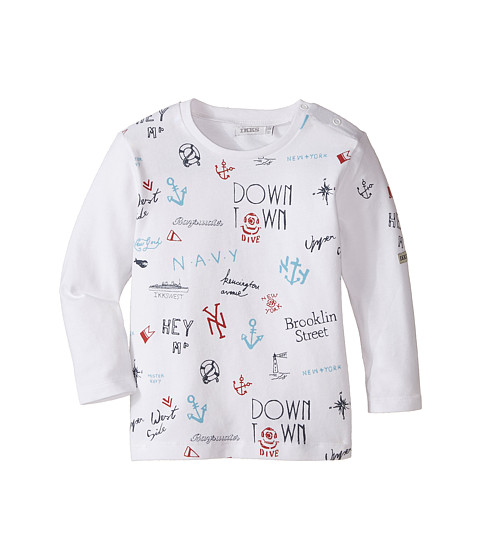 IKKS - Long Sleeve Tee with Navy Motif (Infant/Toddler) (Blanc) Boy's T Shirt
