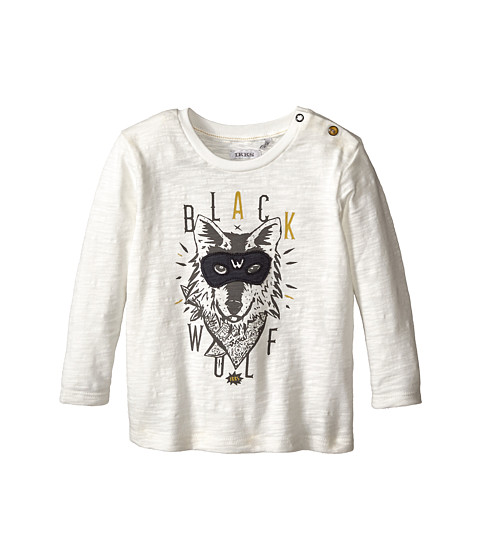 IKKS - Long Sleeve Tee with Wolf Graphic (Infant/Toddler) (Blanc Casse) Boy's T Shirt