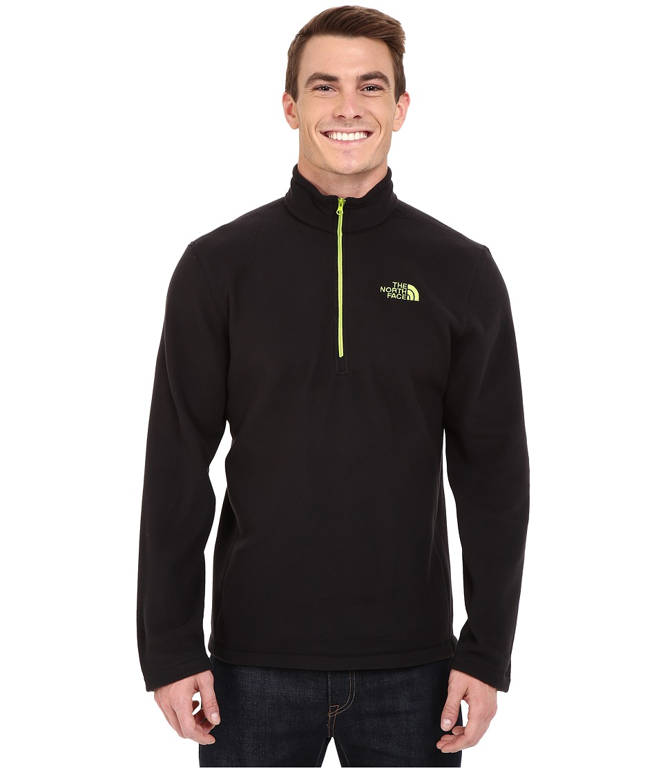 The North Face - TKA 100 Glacier 1/4 Zip (TNF Black/Macaw Green) Men's Sweatshirt