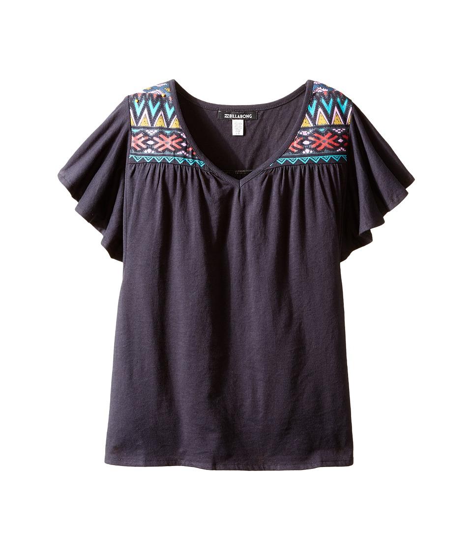 Billabong Kids - Sun Tripped Short Sleeve Knit Top (Little Kids/Big Kids) (Off-Black) Girl's Short Sleeve Knit