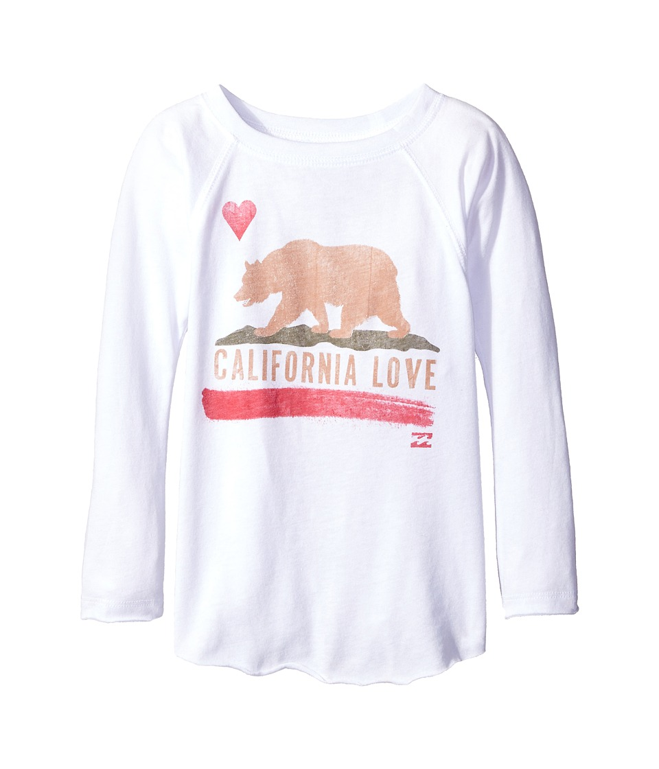 Billabong Kids - Cali Bear Long Sleeve Shirt (Little Kids/Big Kids) (White) Girl's T Shirt