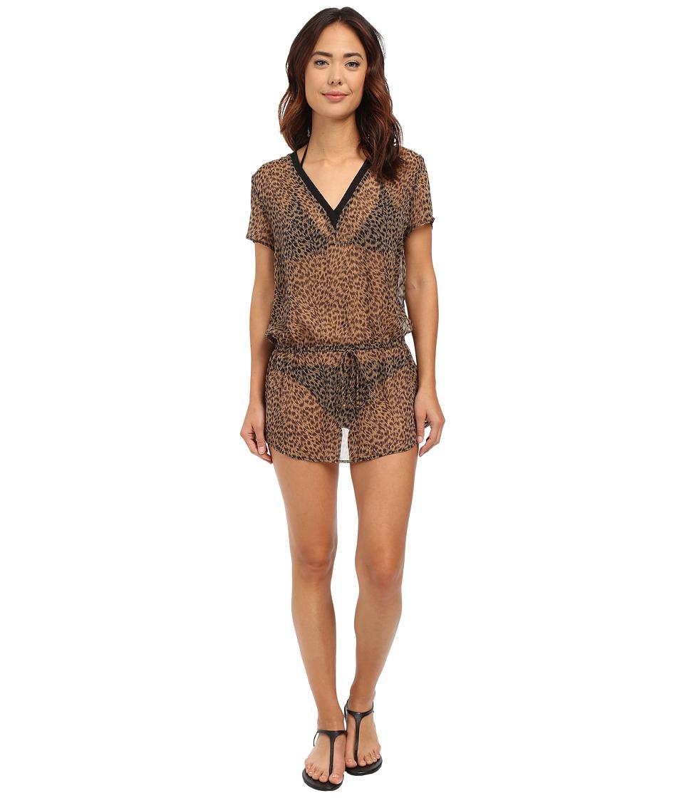 MICHAEL Michael Kors - Abstract Jaguar Deep-V Cover-Up Tunic (Khaki) Women's Swimwear