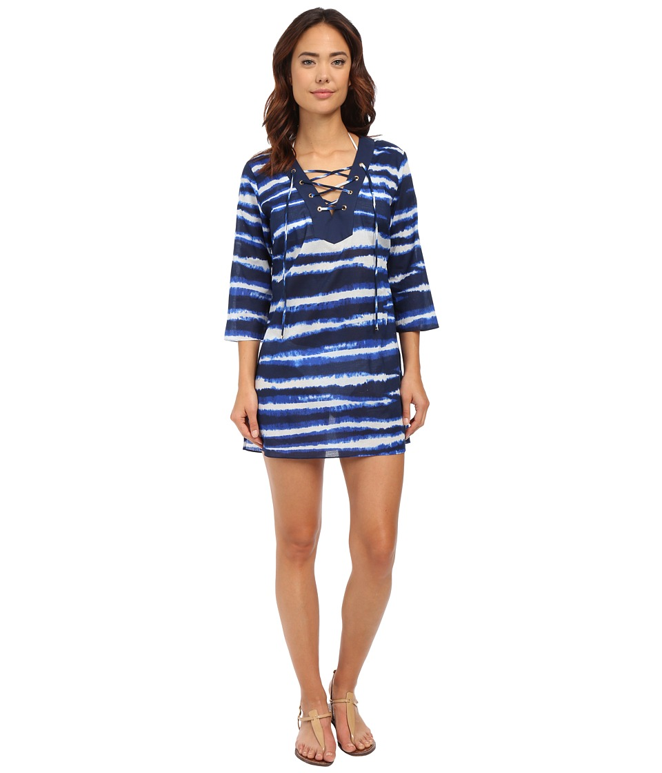 MICHAEL Michael Kors - Azur Stripe V-Neck Tunic Cover-Up (New Navy) Women's Swimwear