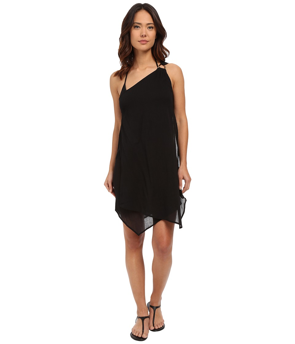 MICHAEL Michael Kors - Solids One Shoulder Draped Cover-Up Dress (Black) Women's Dress