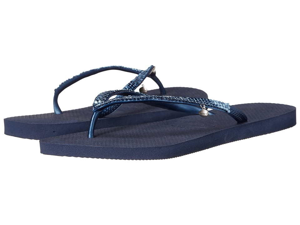 Havaianas - Slim Metal Mesh Flip Flops (Navy Blue) Women's Sandals