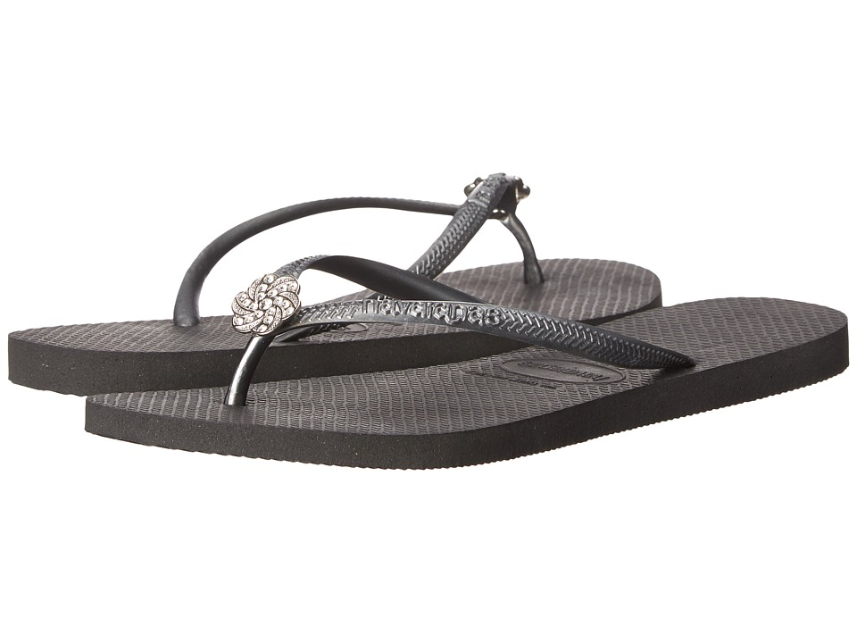 Havaianas - Slim Crystal Poem Flip Flops (Black/Graphite) Women's Sandals