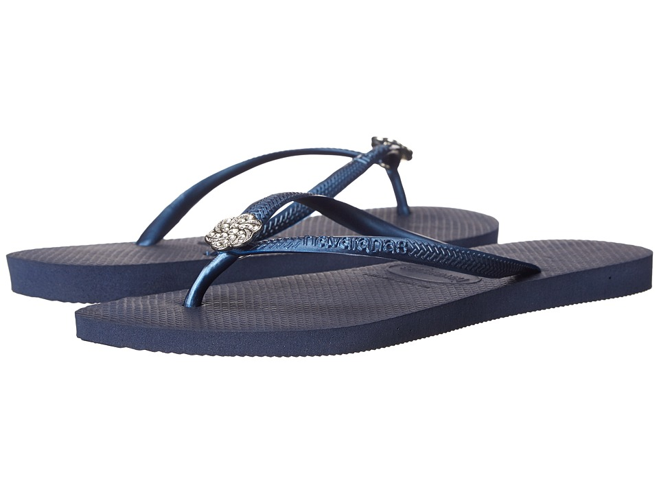 Havaianas - Slim Crystal Poem Flip Flops (Navy Blue/Navy Blue) Women's Sandals