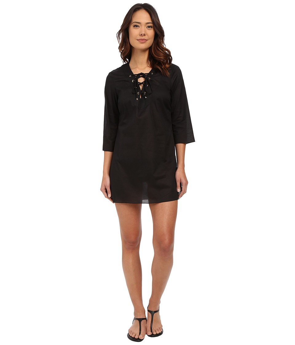MICHAEL Michael Kors - Solids V-Neck Tunic Cover-Up (Black) Women's Swimwear