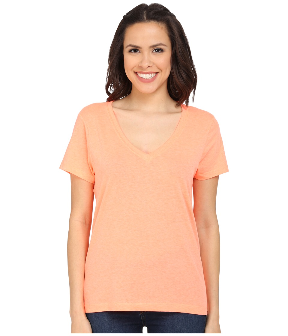 Hurley - Staple Perfect V Tee (Heather Bright Mango) Women's T Shirt