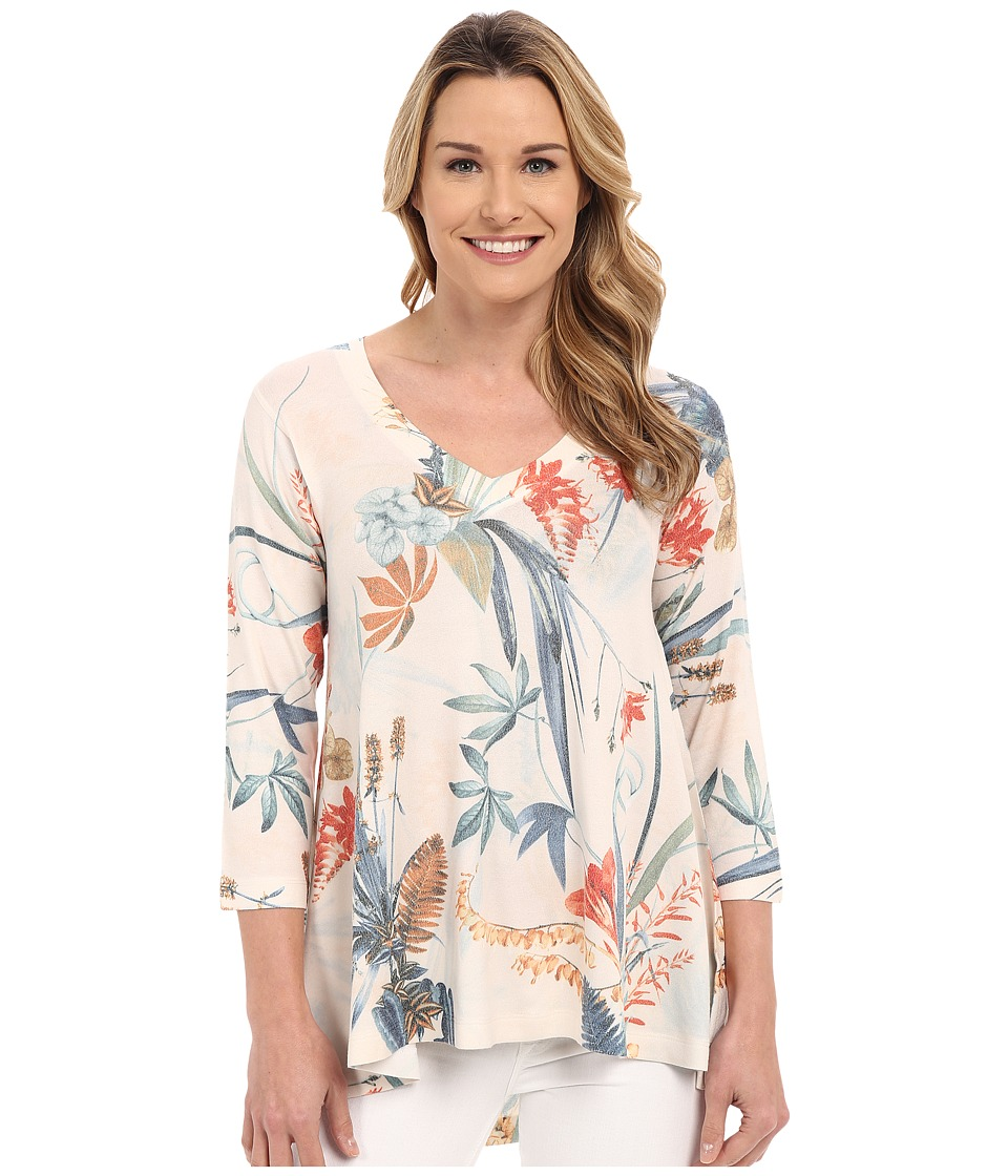 Nally & Millie - Floral V-Neck Tunic (Multi) Women's Long Sleeve Pullover