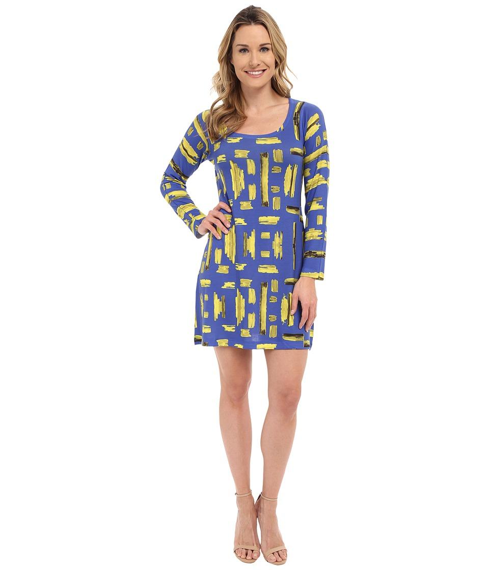 Nally & Millie Geo Scoop Neck Dress (Blue Multi) Women