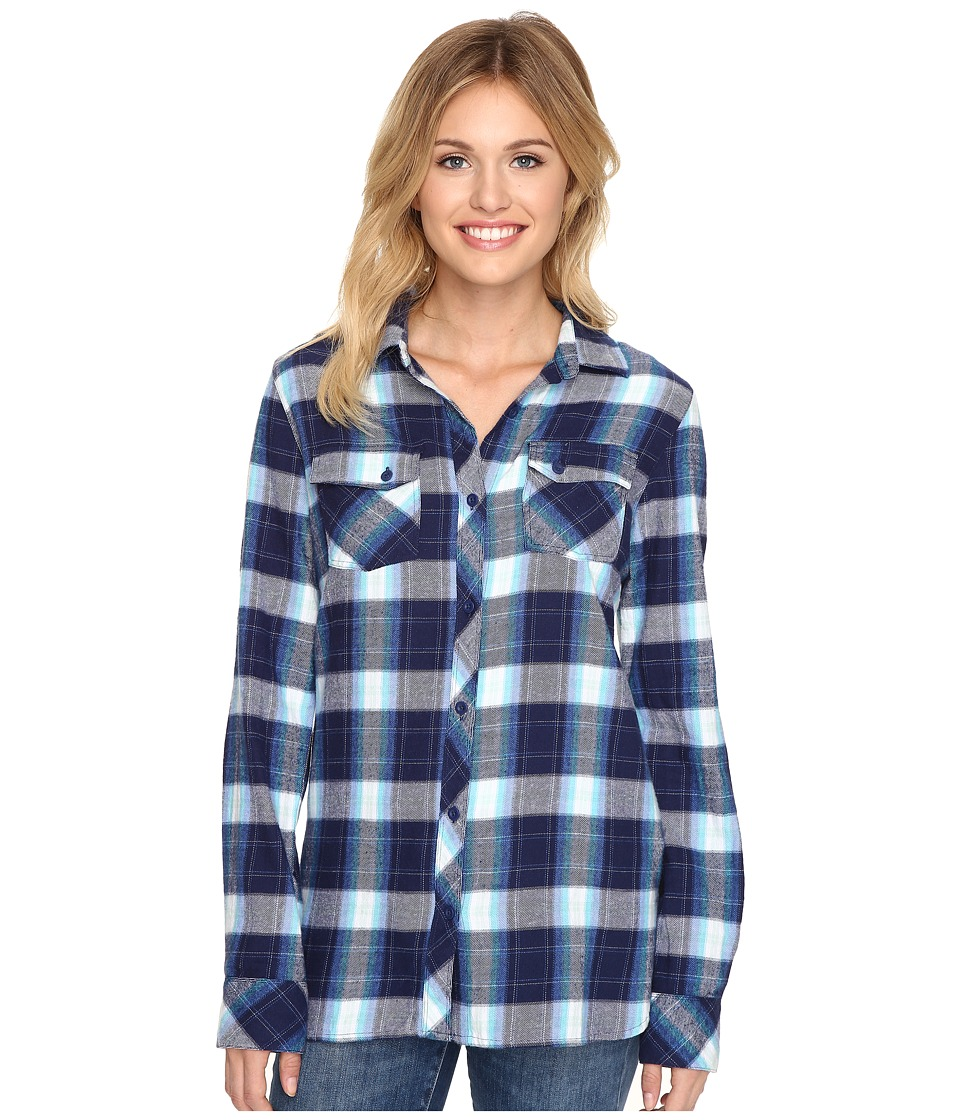 Volcom - Crave You Long Sleeve Top (Navy) Women's Long Sleeve Button Up