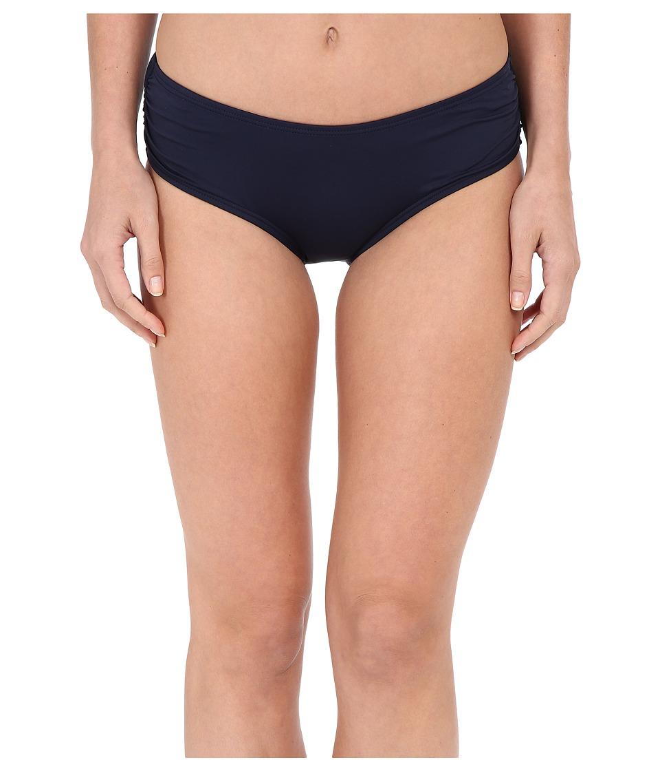 MICHAEL Michael Kors - Logo Solids Side Shirred Bottoms (New Navy) Women's Swimwear