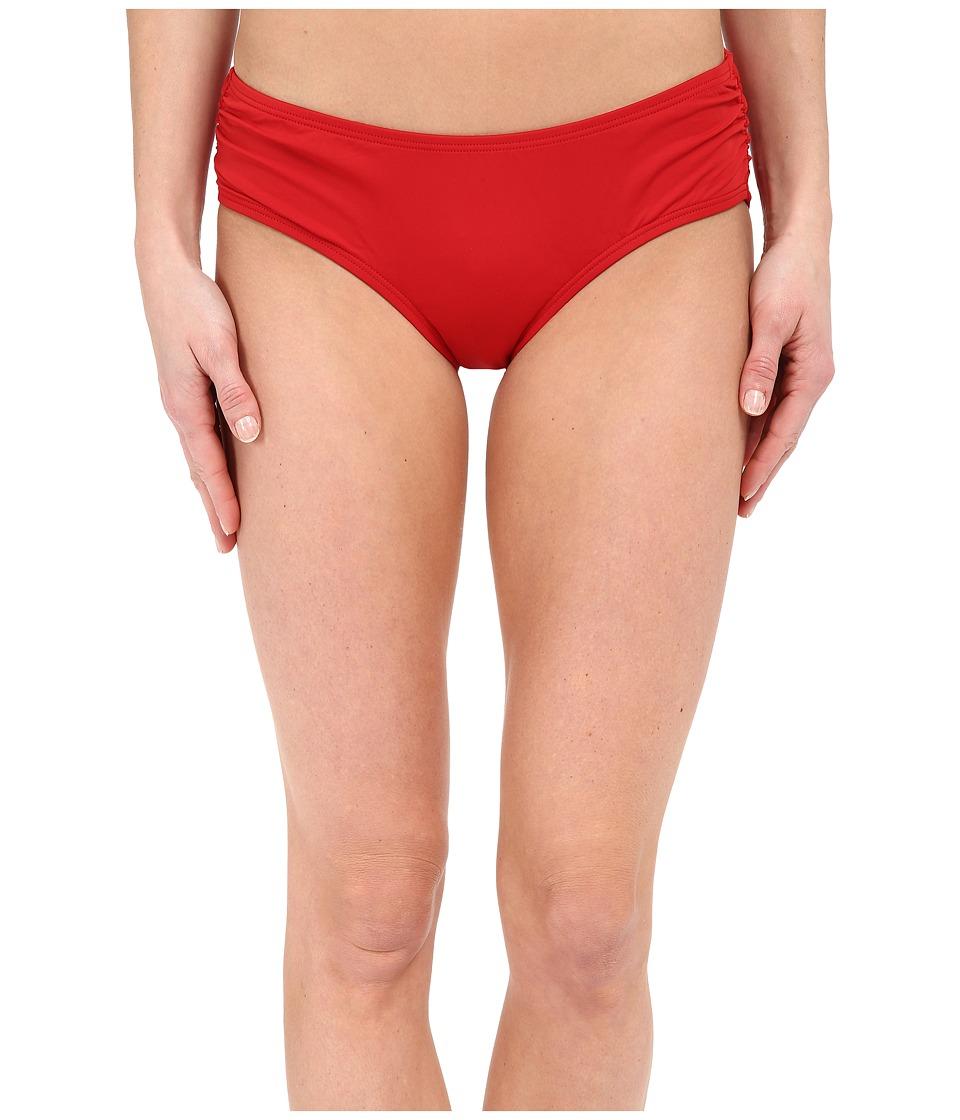 MICHAEL Michael Kors - Logo Solids Side Shirred Bottoms (Red) Women's Swimwear