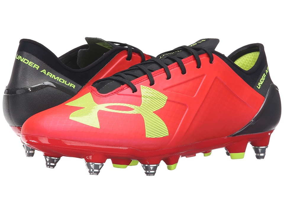Under Armour - UA Spotlight Hybrid (Rocket Red/High-Vis Yellow/Black) Men's Cleated Shoes
