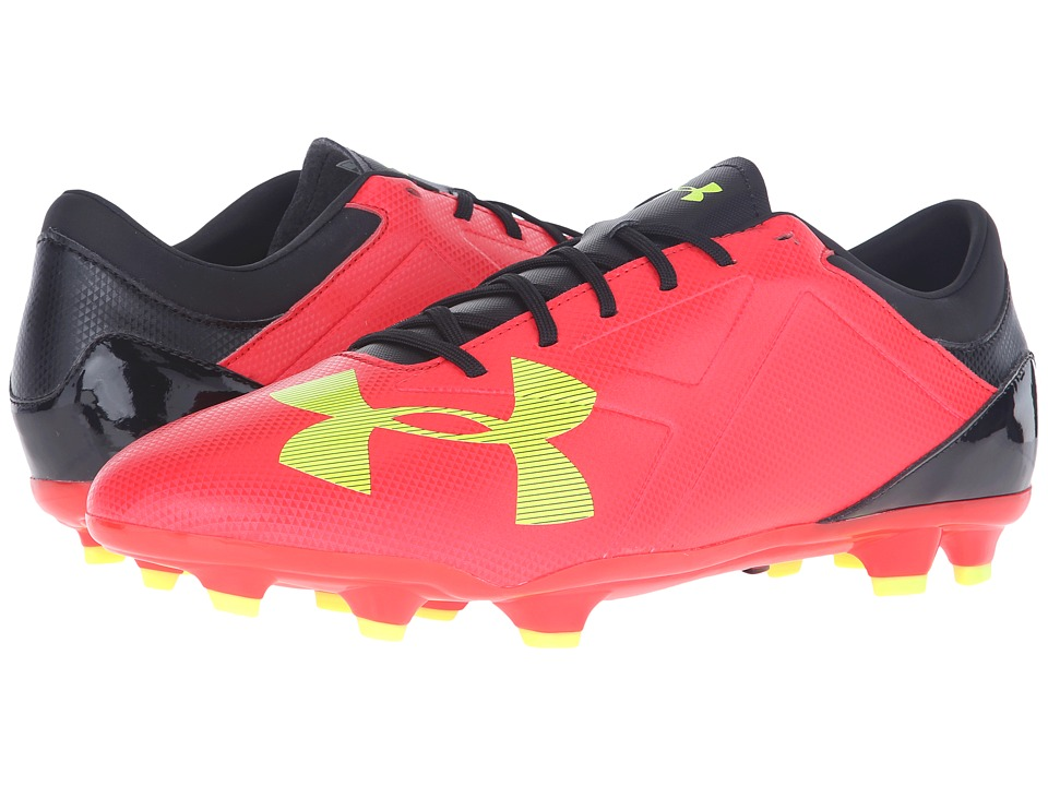 Under Armour - UA Spotlight DL FG (Rocket Red/High-Vis Yellow/Black) Men's Cleated Shoes