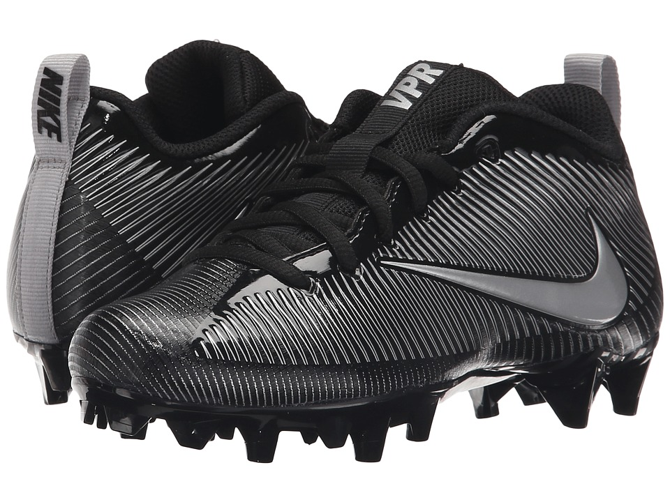 Nike Kids - Vapor Strike TD 5 Football (Little Kid/Big Kid) (Black/Black/Metallic Silver) Boys Shoes
