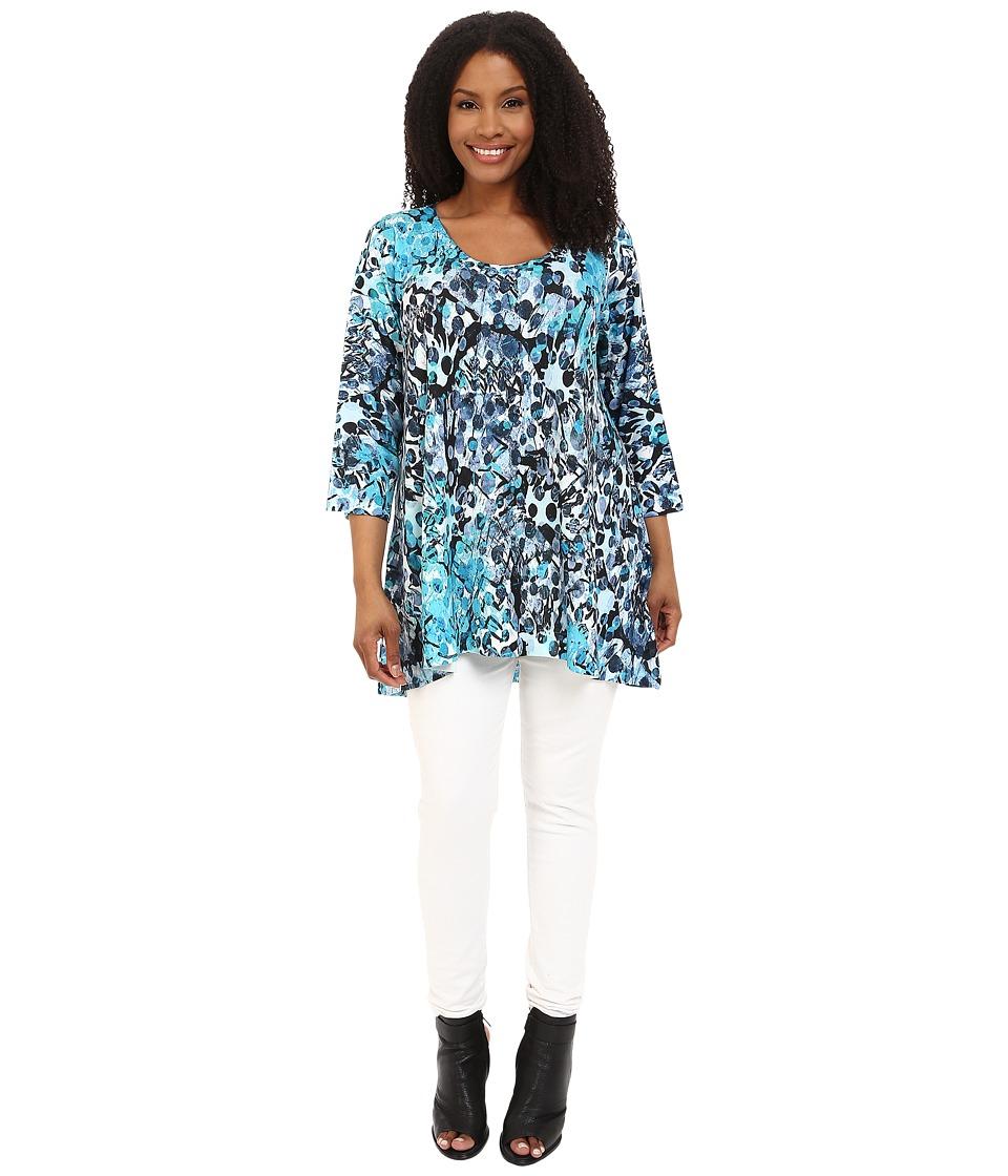 Nally & Millie - Plus Size Handpaint Tunic (Blue Multi) Women's Blouse