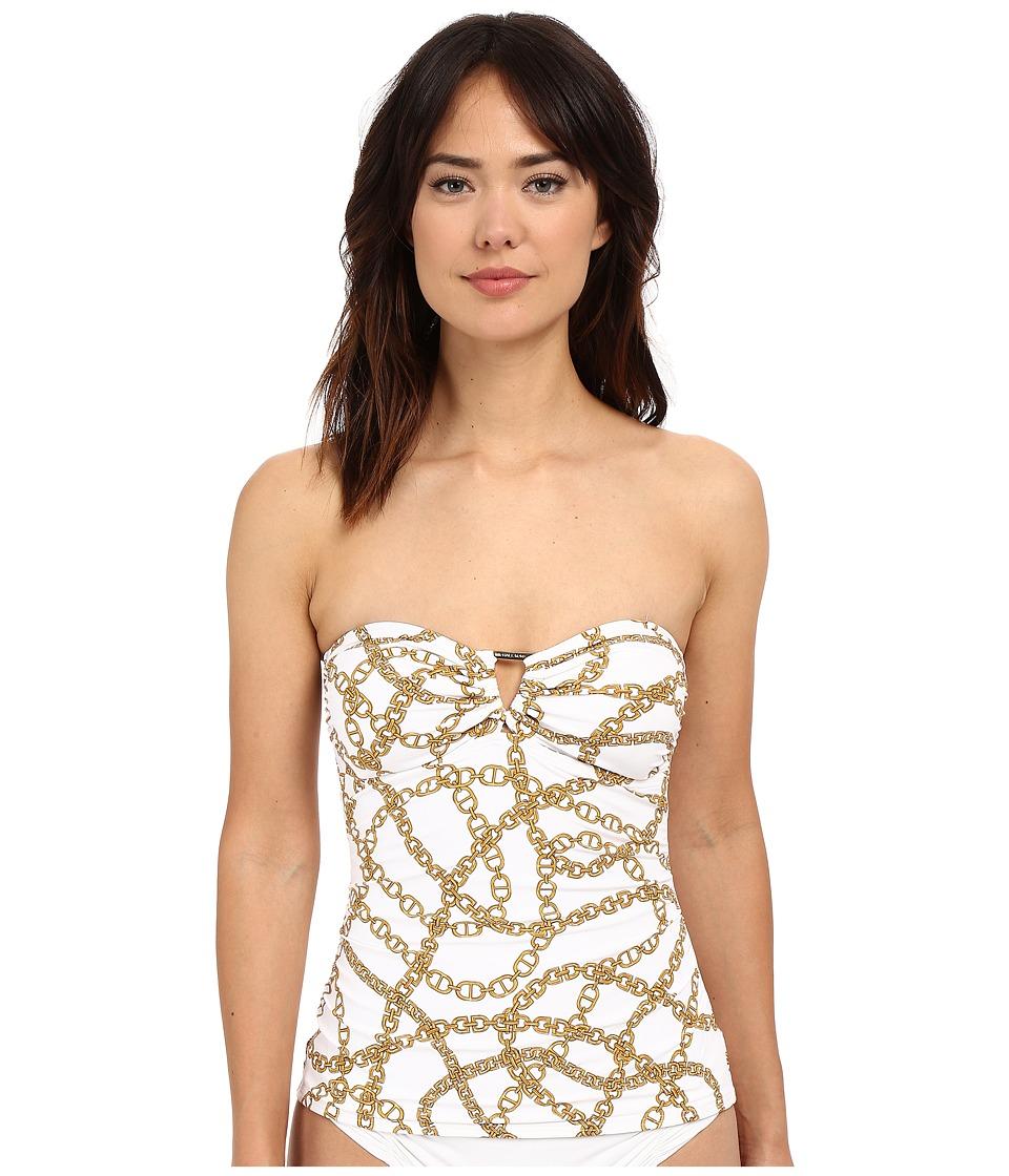 MICHAEL Michael Kors - Chain Shirred Bandini Top (White) Women's Swimwear