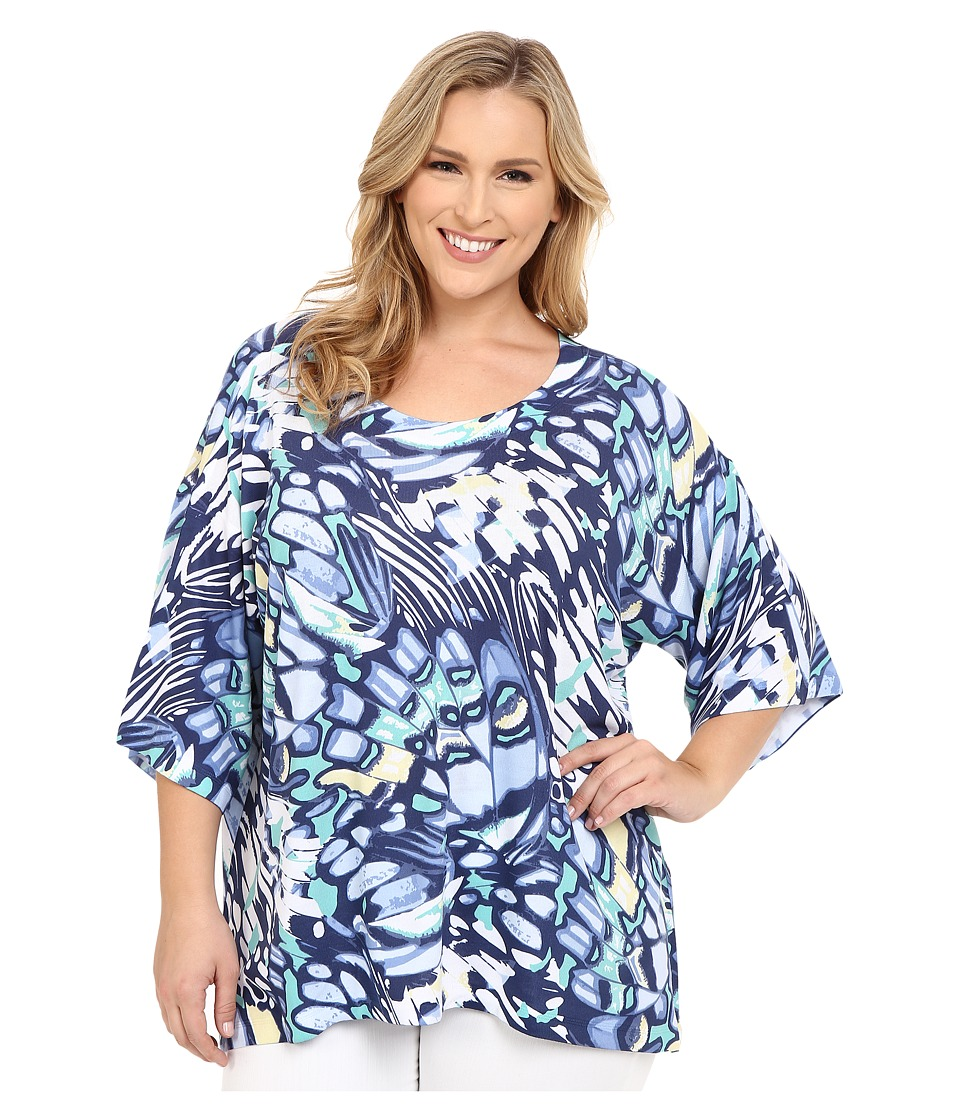 Nally & Millie - Plus Size Butterfly Top (Blue Multi) Women's Clothing