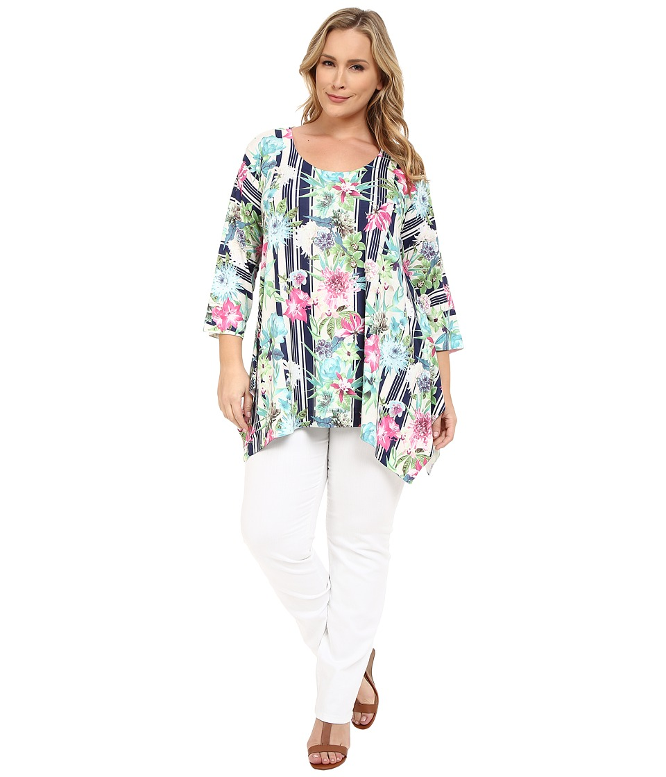 Nally & Millie - Plus Size Stripe Floral Tunic (Multi) Women's Blouse