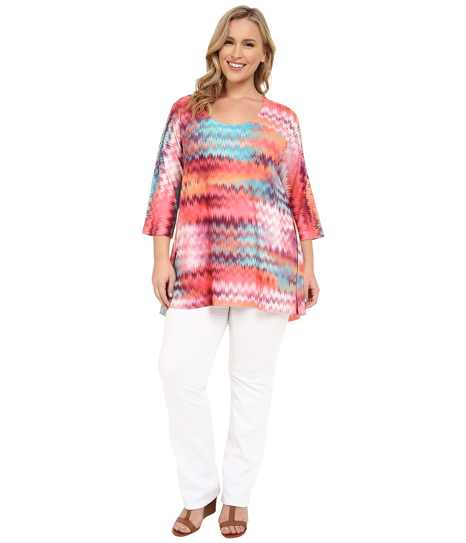 Nally & Millie - Plus Size Chevron Tunic (Fuchsia Multi) Women's Blouse