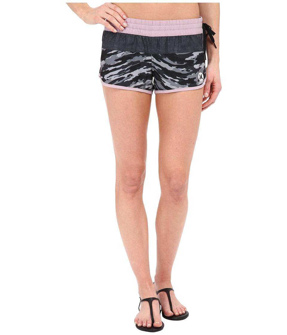 Hurley - Phantom Block Party Beachrider Boardshorts (Black Wave) Women's Swimwear
